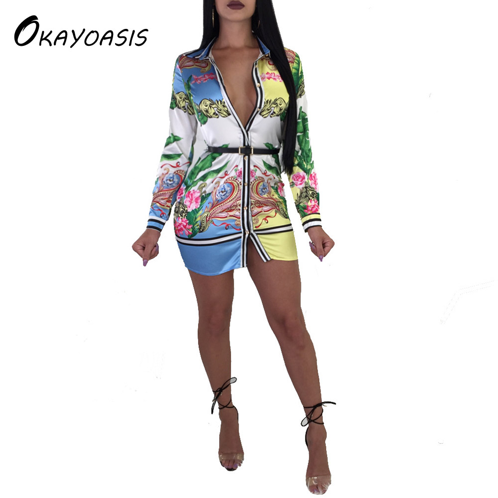 OKAYOASIS Free Shipping Fashion Spring Women Shirt Dress Long Sleeve Office Workwear Mini Dresses Female Casual Party Dress