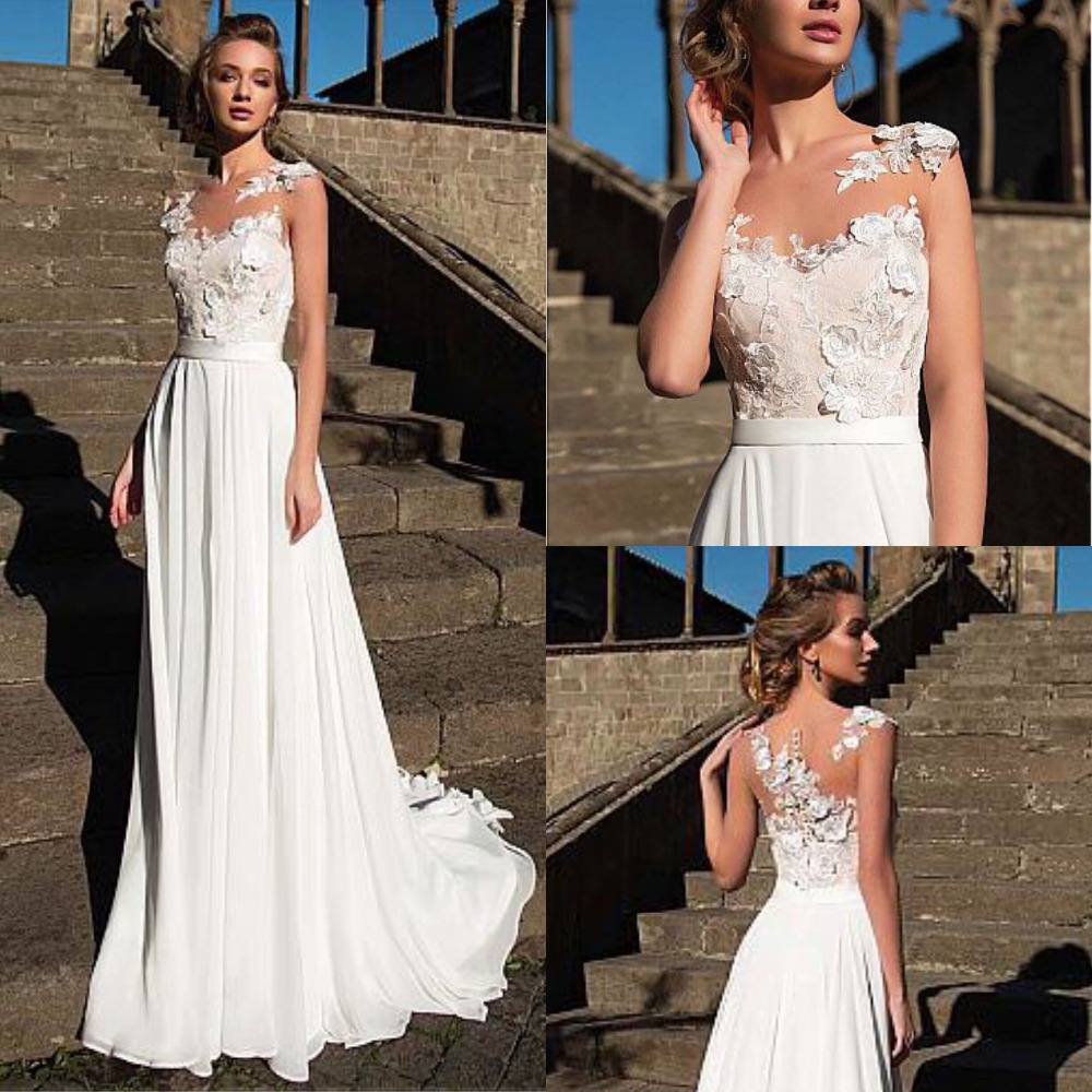 Charming Chiffon Scoop A Line Wedding Dress Illusion Design Sleeveless with Appliques Bridal Gowns Cheap Wedding