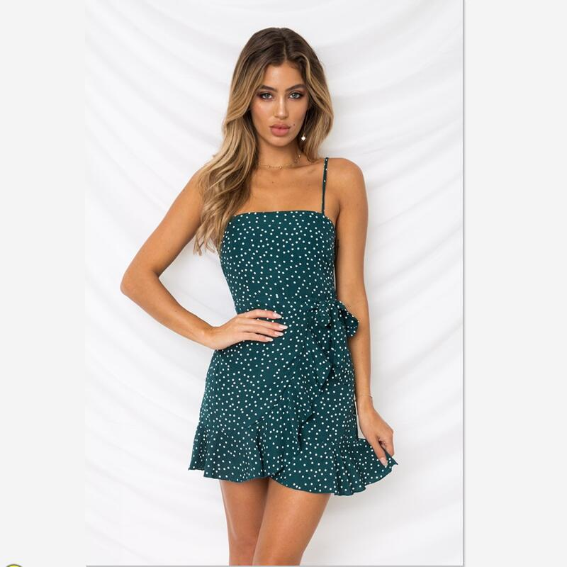 2018 summer sexy spaghetti strap mini  dress  women  office lady  print dress irregular ruffled dress