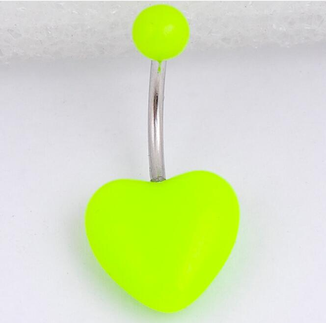 Piercing Jewelry Belly-Button-Rings Navel Heart-Shape Acrylic Cute And Pop Hot-Sales