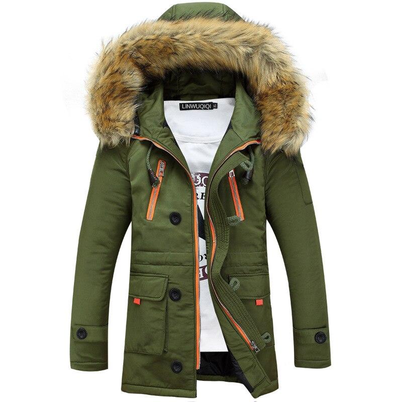 Утолщение Мужские парки Для мужчин 2017 зимняя куртка Для Мужчин's Пальто для будущих мам Мужской верхняя одежда меховой воротник Повседневное длинные хлопковая стеганая Для мужчин пальто с капюшоном