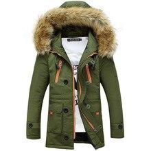 Engrossamento parkas homens 2020 jaqueta de inverno casacos masculinos outerwear gola de pele casual longo algodão wadded casaco com capuz