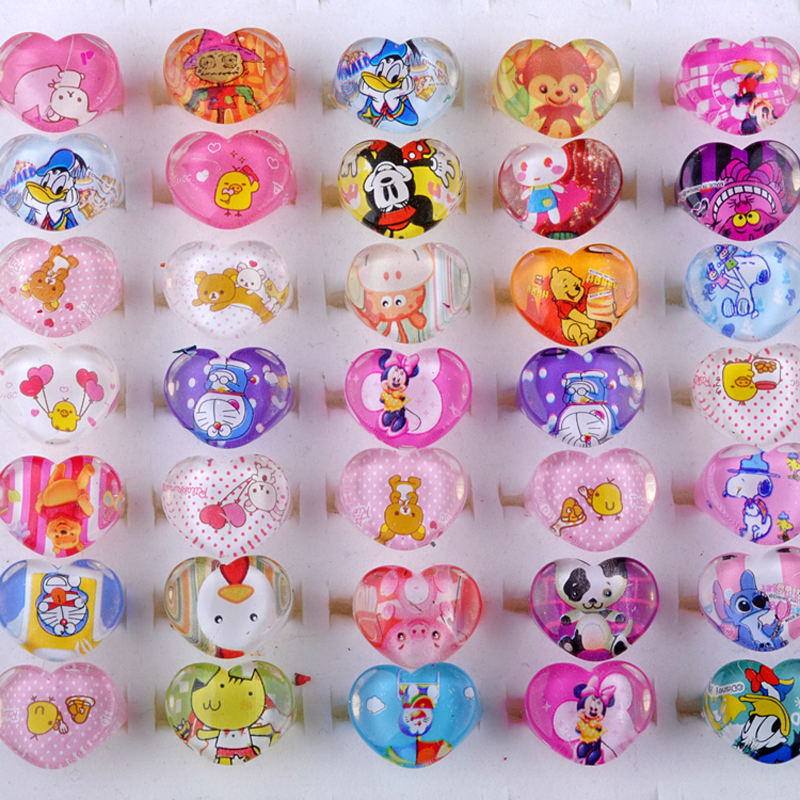Wholesale Mixed Lots 10Pcs Cute Cartoon Children Kids Resin Lucite Ring New Lovely Mixed Heart Shape Child jewelry Gift