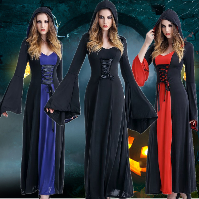 Victorian Halloween Costumes Hoodie Witch Vampire Costume Women Long Dress Cosplay Clothes Women for Carnival