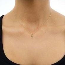 65ed38aa022f Simple plata oro Cruz collar y colgante de joyería de moda de las mujeres  pequeño minimalista