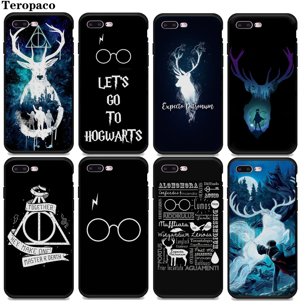 553675073b For iphone 6 7 8 Case Harry Potter Deer Soft Silicone Black Phone Case Cover  For iphone X XS Max 8Plus 7Plus 6SPlus 5S SE