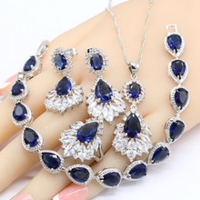 Water Drop Women Silver Color Jewelry Sets Created Dark Blue Sapphire  Necklace Pendant Bracelets Earrings Rings Free Gift Box все цены