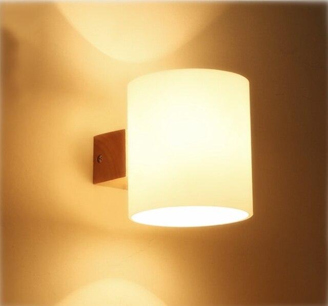 US $34.3 30% OFF|Moderne Einfache Holz LED Wandleuchten Hause Schlafzimmer  Badezimmer Küche Gang Eiche Licht Massivholz & Glas Wandleuchte Leuchte ...