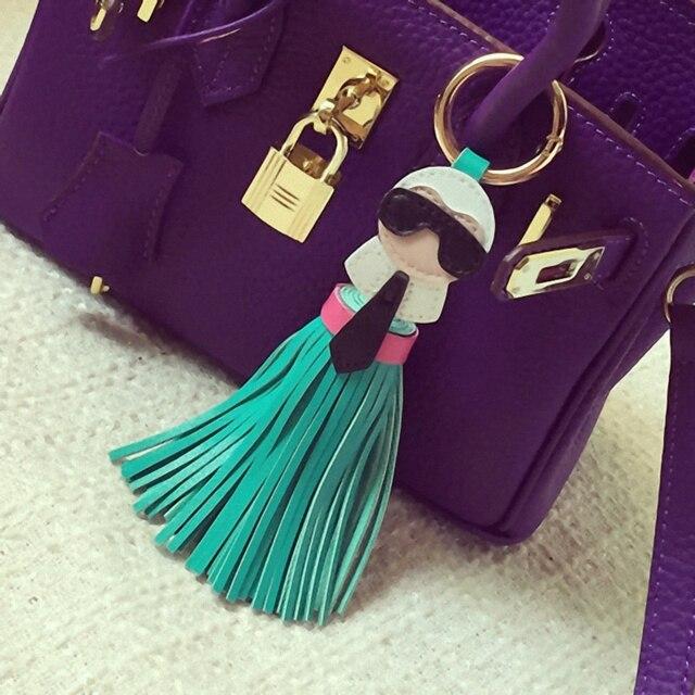 Cute key chain for Women Kar trinket Bag Bugs Car key ring Tassels Bag Charm Holder Ornaments Leather keychain K008-black 4