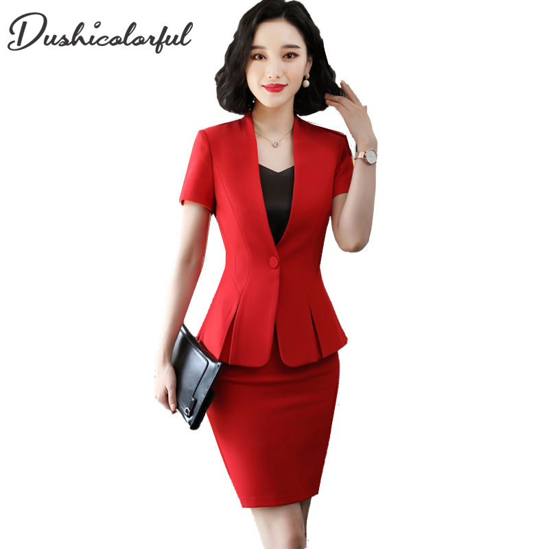 Skirt Suit Women Summer New Fashion Short Sleeve OL Ladies Blazer Skirt Two Piece Set Office Uniform Black Business Work Outfit