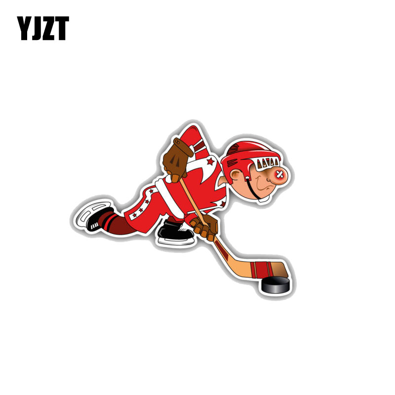 YJZT 12.7CM*10CM Cute Cartoon Boy Hockey Player  PVC Motorcycle  Car Sticker  11-00012