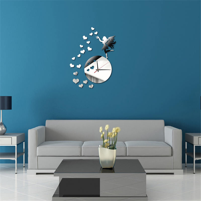 2019 New hot girl love DIY clock silver Sweet Love DIY Mirror Wall Clock Wall Sticker Home Decor wall stickers clock #3J11