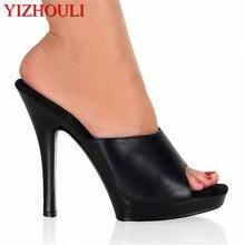 Sexy High Heel Slippers Fashion Women Platform Exotic Dancer Shoes 13cm Dim Black Summer Sandals