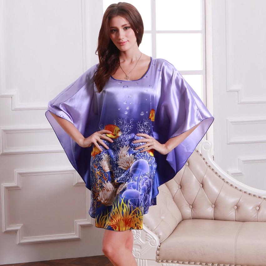 SpaRogerss Nightgowns Sleepshirts 2018 Plus Size Silk Lady Sleepwear Dressing Gown Female Home Brand Bathrobe Intimissimi YT7348 1