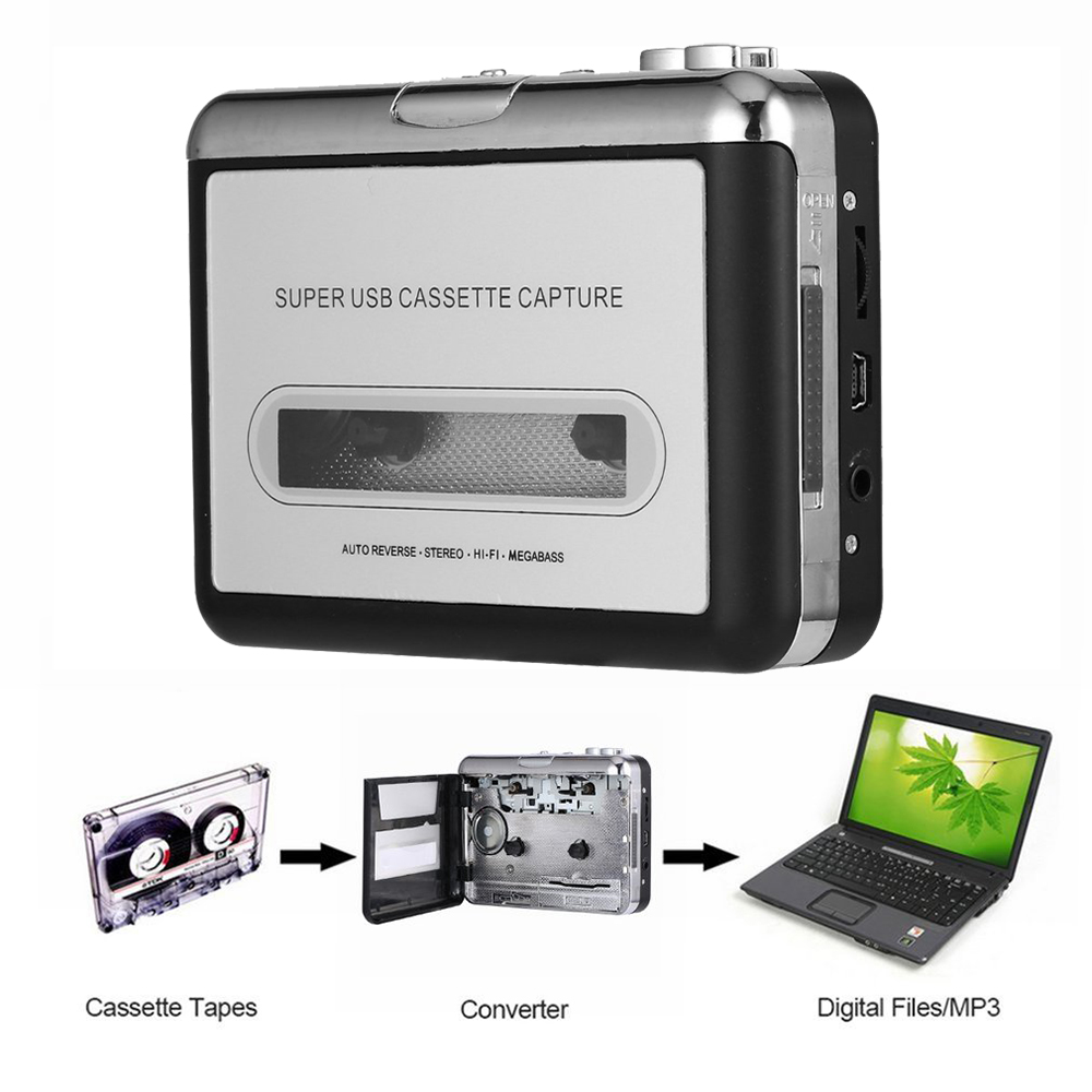 цена 2018 Tape to PC Super Cassette To MP3 Audio Music CD Digital Player Converter Capture Recorder +Headphone USB 2.0 Drop Shipping