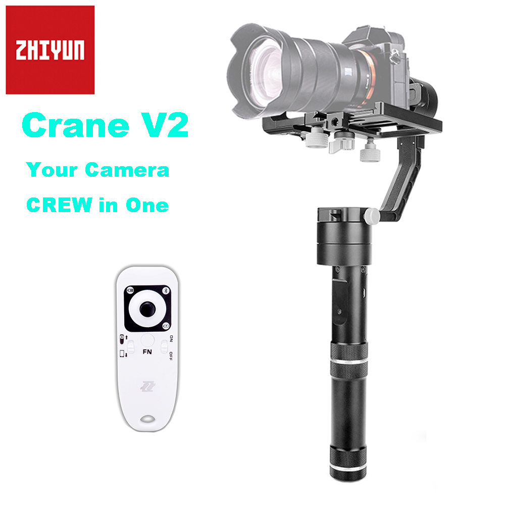 Zhiyun Crane V2 3-Axis Brushless Handheld Gimbal Stabilizer with Wireless Remote Controller 360 Degree Moving for DSLR Camera zhiyun crane m 3 axle handheld stabilizer gimbal remote controller case for dslr camera support 650g smartphone camera f19238 a