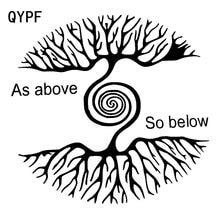 QYPF 18,6 cm * 17,5 cm dibujos animados como los árboles de arriba tan abajo interesante vívido vinilo pegatina de coche Durable ventana calcomanía C18-0393