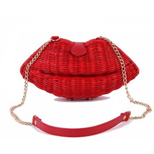 Ladies Woven Straw Beach Evening Bag Red Lip Straw Bales Handmade Bag Women Clutch Bag Women Messenger Crossbody Bag Girls