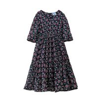 B S111 Summer New Fashion Girls Sweet Casual Dresses Spring Kids Princess Floral Print Dress 4