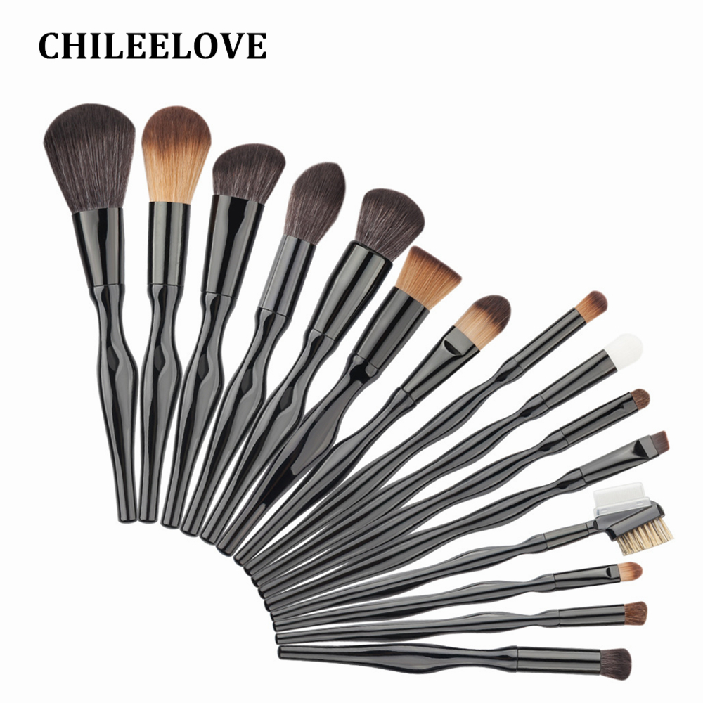 CHILEELOVE 15 Pcs Professional Makeup Brush Set Body Curve Facial Blush Foundation Blending Powder Cosmetics For Women Girl