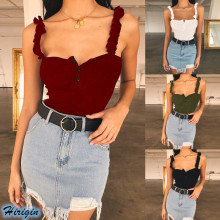 Summer Women Casual Tops 2019 New Sleeveless Square Skinny Button Knit Camisoles