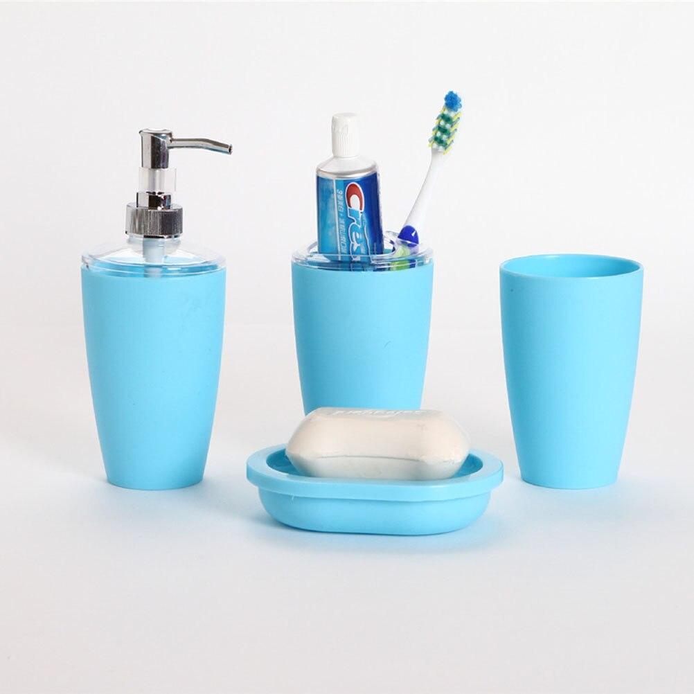 Plastic bathroom sets - 4pcs Plastic Elegant Bathroom Accessory Set Bin Soap Dish Dispenser Tumbler Toothbrush Holder