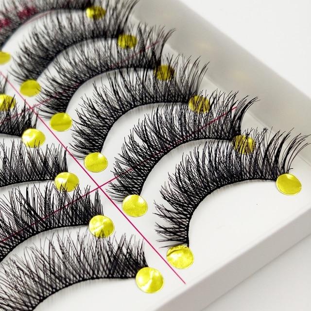 YOKPN Makeup False Eyelashes Natural  Thick False Eyelashes Cross Messy Comfortable Eyelashes False eyelashes 1 box 10 pairs 3