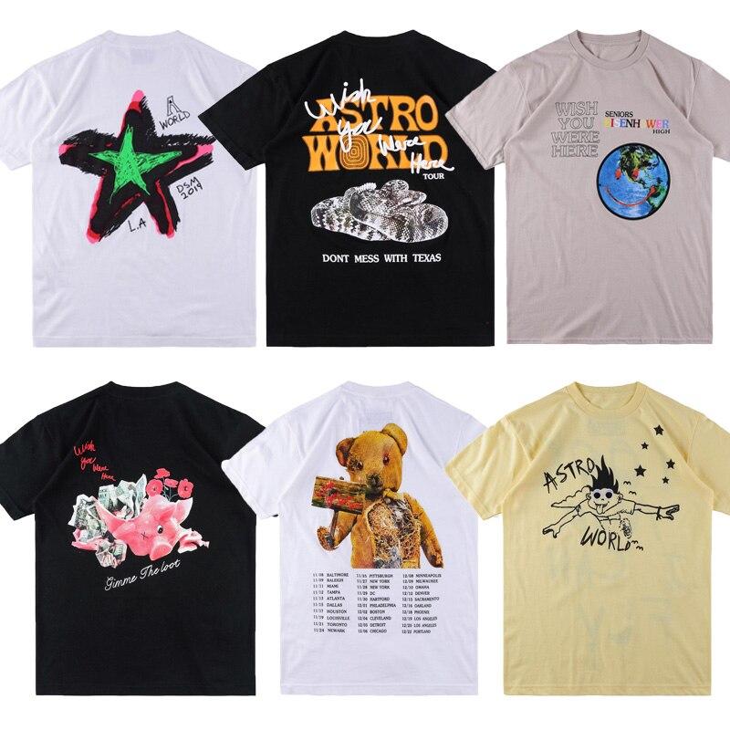 High Quality ASTROWORLD   T     Shirt   Men Women Astroworld Top Tees Hip Hop Streetwear Justin Bieber ASTROWORLD Travis Scott Tshirt