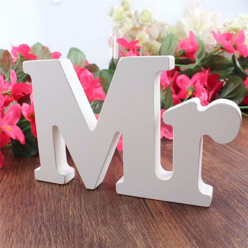 Popular 3 pcs/set Wedding Decorations Alphabet Mr & Mrs Mariage Decor Birthday Party Decorations White Letters Wedding Sign
