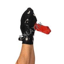 Латексные перчатки латексные шариковые перчатки Wanking оболочка рукавица с регулируемым ремешком без Пальцев Перчатка латексные резиновые перчатки Фетиш 0,8 мм