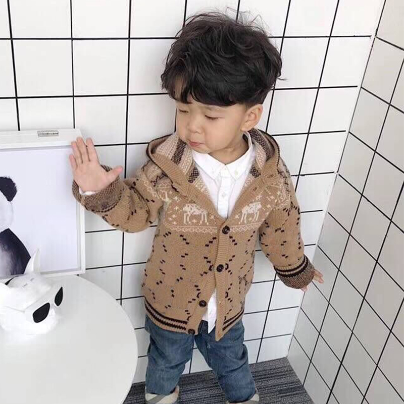 girls sweater hooded coat boys Fashion autumn spring style cotton knitted sweater kids outwear цена 2017