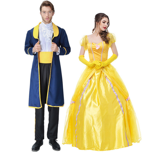 Beauty And The Beast Costumes Princess Belle Dresses Mens Royal Prince Halloween Party Cosplay Housemaid Costume