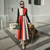 VERRAGEE women 2019 new year dress winter vintage party dress woolen retro red color long A Line oversize formal maxi Dress