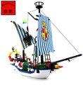 Ship building block set compatible con lego piratas Royal Sloop Pasatiempos Educativo 3D de Construcción de Ladrillo Juguetes para Los Niños