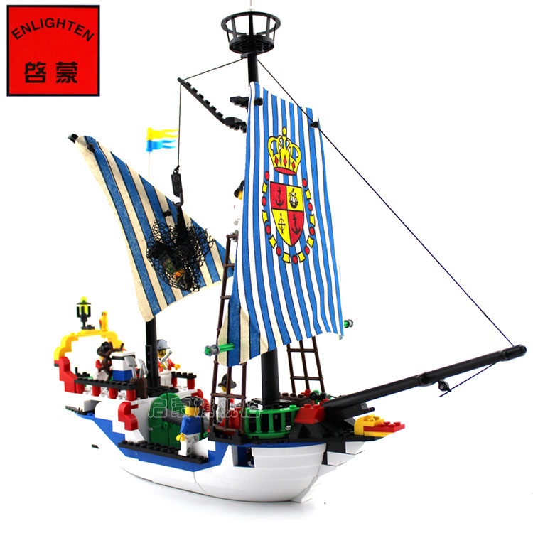 купить building block set compatible with lego ship pirates Royal Sloop 3D Construction Brick Educational Hobbies Toys for Kids недорого