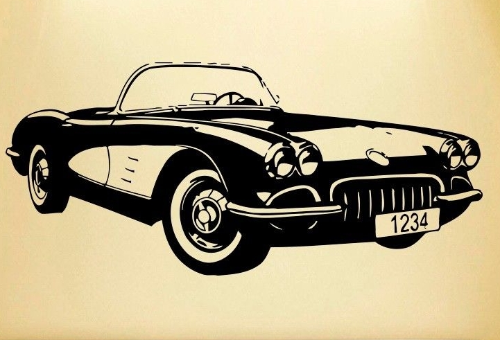 Car Vinyl Wall Decal Old Classic Car Auto Home Decor Mural