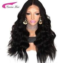Карина волосы перуанский объемная волна человеческих волос 150 плотности кружева перед парики с волосы младенца вокруг cap средняя часть предварительно сорвал волос