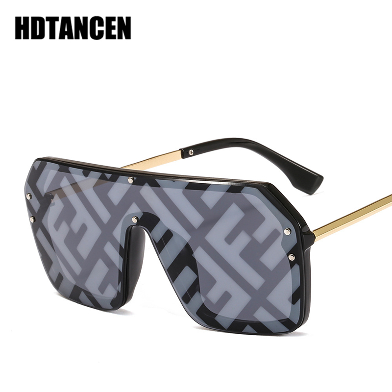 HDTANCEN Hip hop Sunglasses Exaggerated Large Frame Conjoined Sunglasses Frameless Men Women Letters Lenses Fashion Sunglasses-in Women's Sunglasses from Apparel Accessories on Aliexpress.com | Alibaba Group
