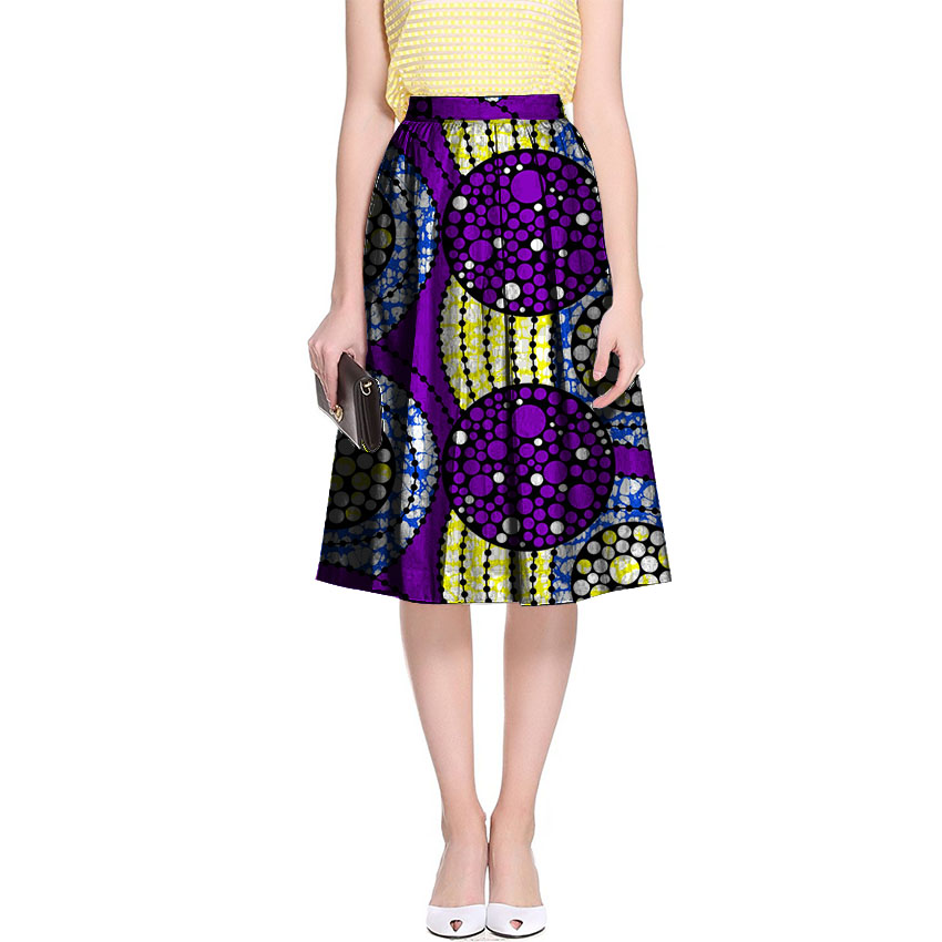 New arrivals bright wax africa print skirt element ladies pleated skirts tailor made african skirts women party/wedding clothing