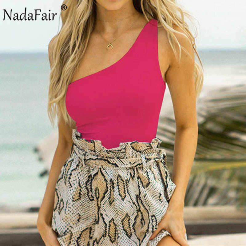 Nadafair, топы на одно плечо, женские неоновые, зеленые, черные, белые, с открытыми плечами, сексуальные боди, комбинезоны, летние, цельные купальники