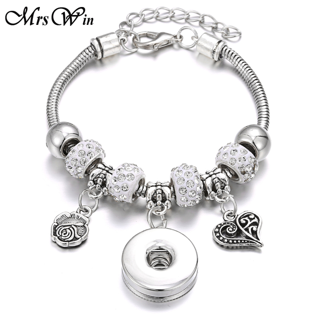 2019 New Snap Button Bracelet Silver Lobster Buckle Snake Chain Bangles Beaded Snap Bracelet Fit 18MM Snap Buttons Jewelry