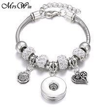 2019 New Snap Button Bracelet Silver Lobster Buckle Snake Chain Bangles Beaded Snap Bracelet Fit 18MM Snap Buttons Jewelry(China)