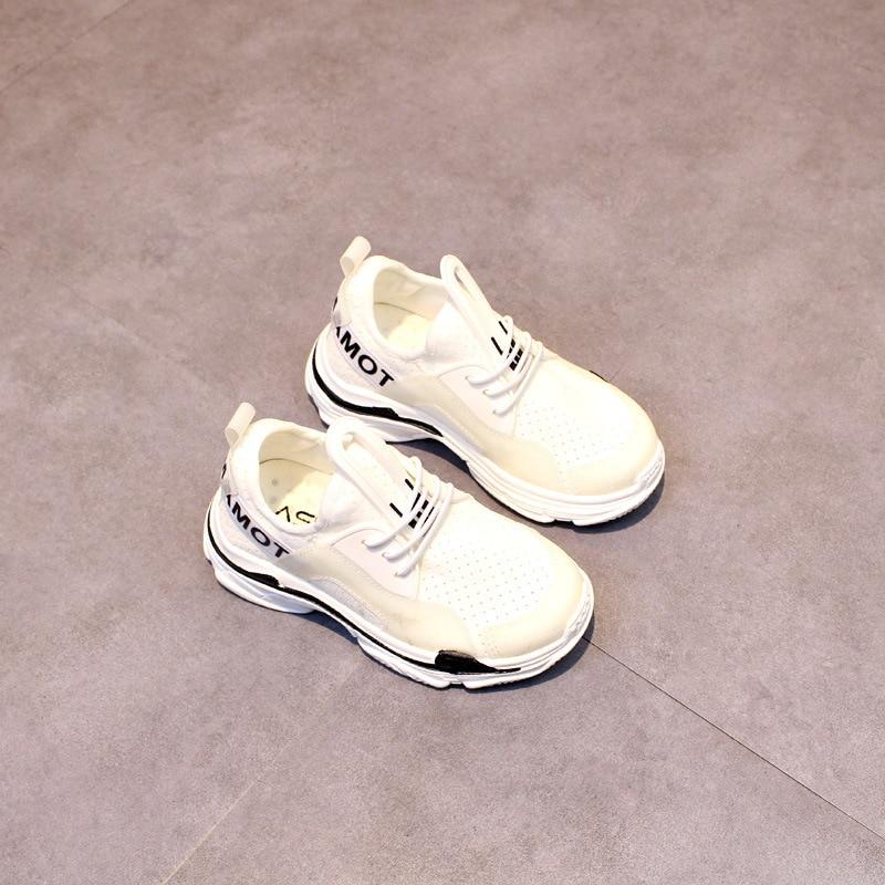 3-6T New Spring Summer Children Student Letter Boys Sport Shoes Girls Run Casual Shoes Toddler Kids flyknit Elasticity Sneaker 7