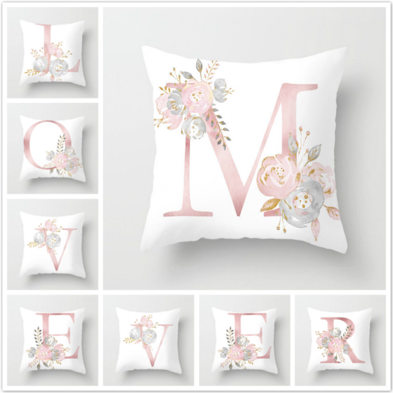 Fuwatacchi Kid Room Decoration Letter Pillow English Alphabet Polyester Cushion Cover For Sofa Home Decoration Flower Pillowcase