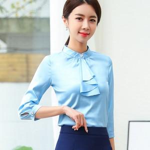 Image 4 - 2019 Spring Elegant Ruffles Shirt Women Fashion Clothes Slim Half Sleeve Chiffon Blouse Office Ladies Work Wear Plus Size Tops
