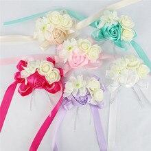 Zilue 10pcs/lot Bride Tiffanyblue Wrist flowers Bouquets Bridesmaids Sisters hand Flowers for Wedding Party Corsages