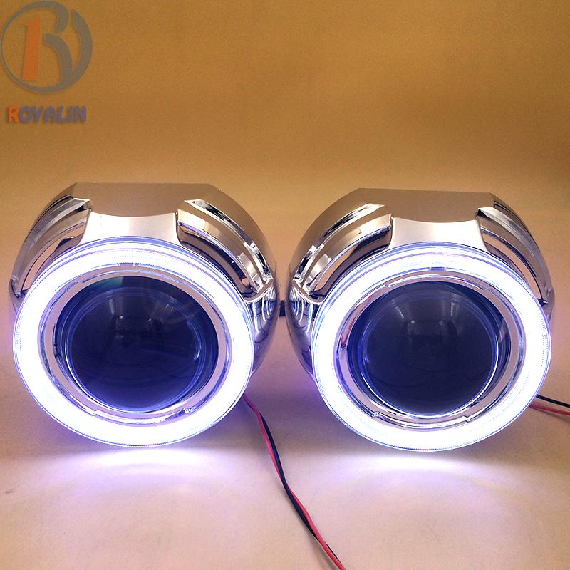 Prix pour 3.0 Métal Bi Xénon HID Projecteur Phares Lentilles 2.5 avec COB Ange Eye Led DRL Feux de jour pour H1 Lampe H4 H7 Voiture
