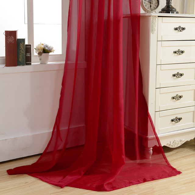 Tende di Colore solido Nero Finestra Moderna Soggiorno Balcone Cucina Tende di Tulle Viola Tessuti Trasparenti Rosso Cortinas T & 184 #20
