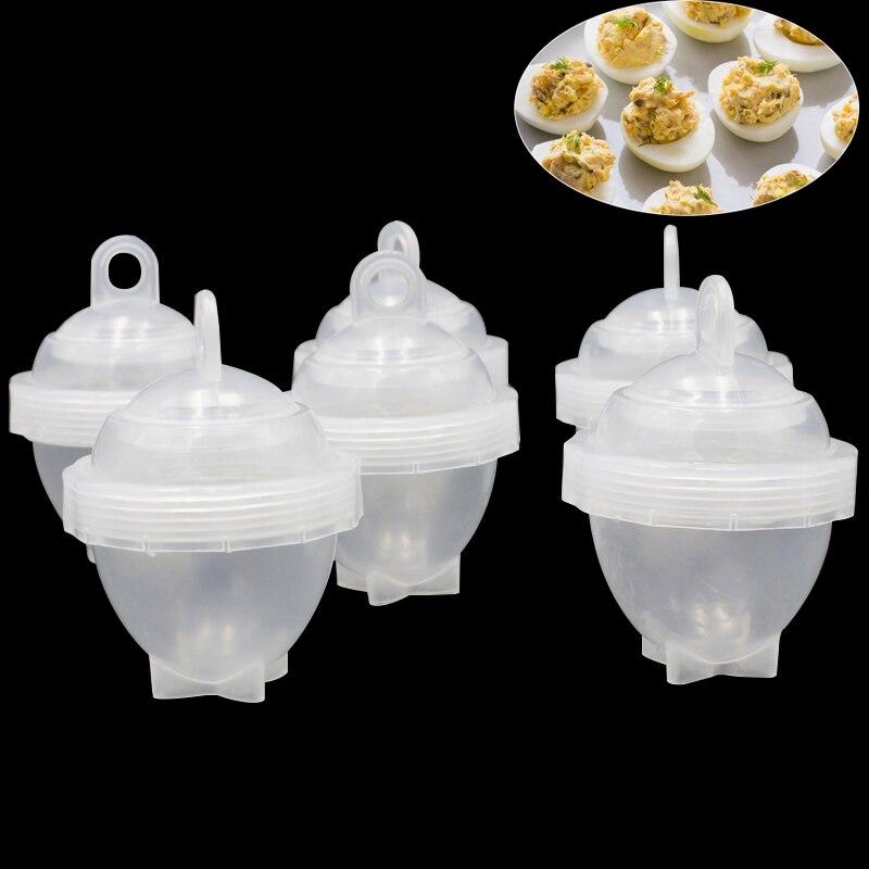 7Pcs/set Egg Cooker Plastic Transparent Egg Poachers With 6pcs Steamers + 1pc Egg Dividers Kitchen Egg Boiler Cooking Tools