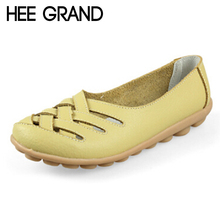 HEE GRAND Nest Hole Women Shoes 2016 Summer Style Leather Sandals Cool Flats Comfort Shoes Woman Candy Color Size 35-40 XWZ132